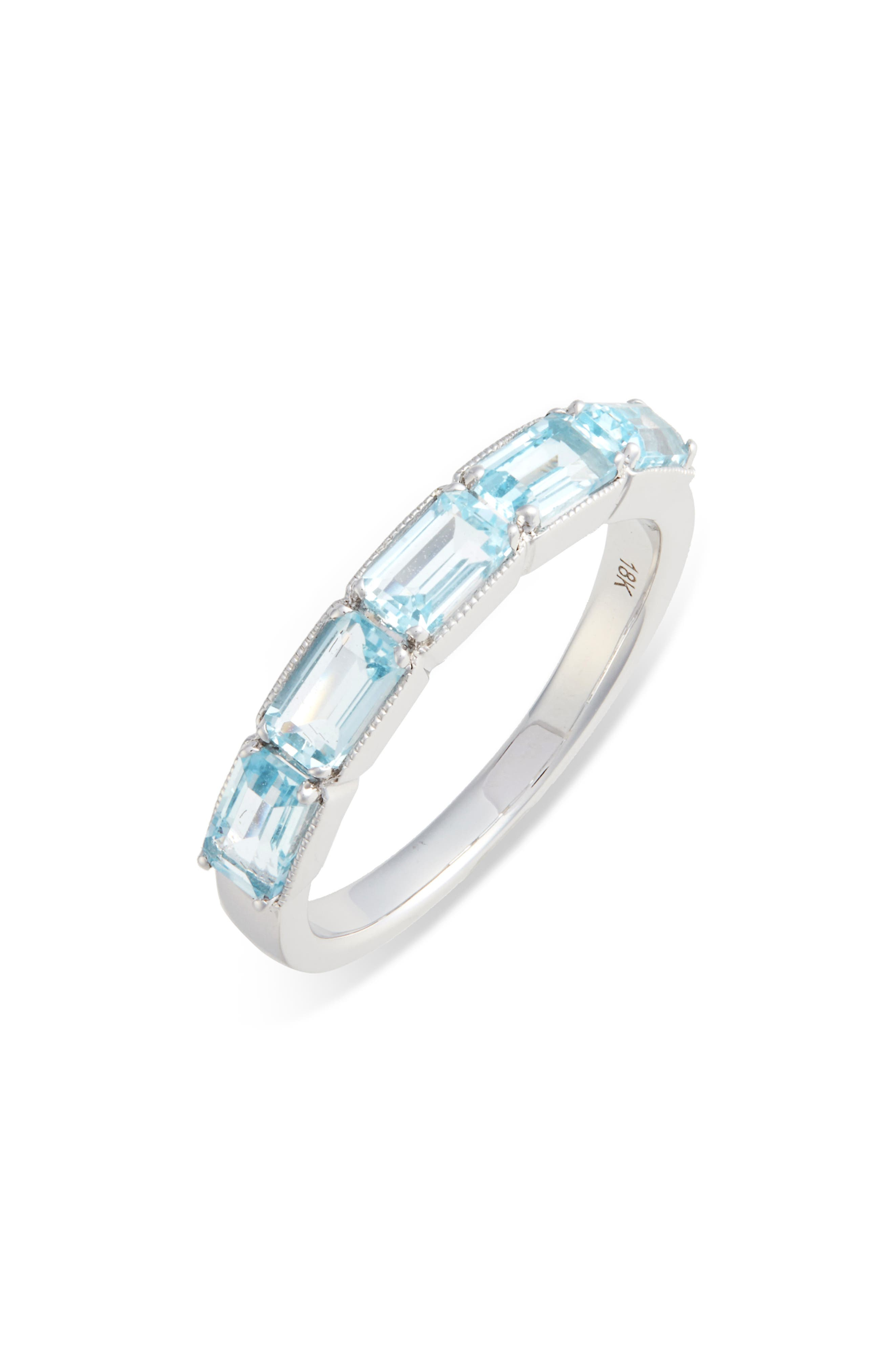 Blue Topaz Baguette Stack Ring, Main, color, BLUE TOPAZ/ WHITE GOLD