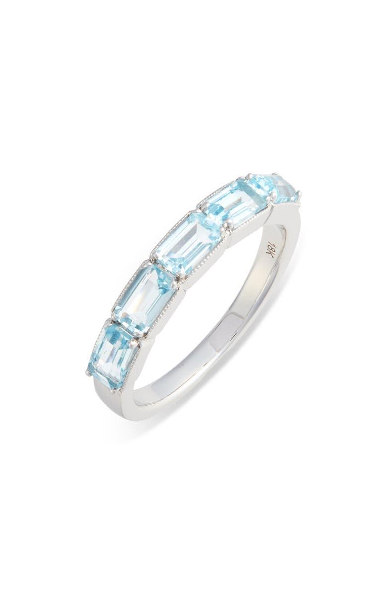 BONY LEVY Blue Topaz Baguette Stack Ring, Main, color, BLUE TOPAZ/ WHITE GOLD