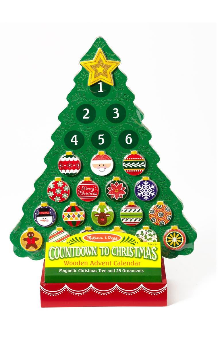 MELISSA AND DOUG Melissa & Doug Wooden Christmas Tree Advent Calendar, Main, color, GREEN