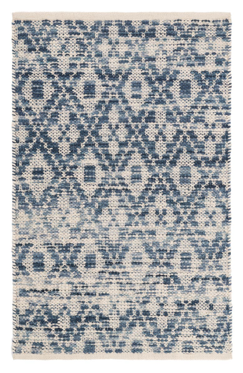 DASH & ALBERT Ombré Diamond Woven Cotton Rug, Main, color, BLUE