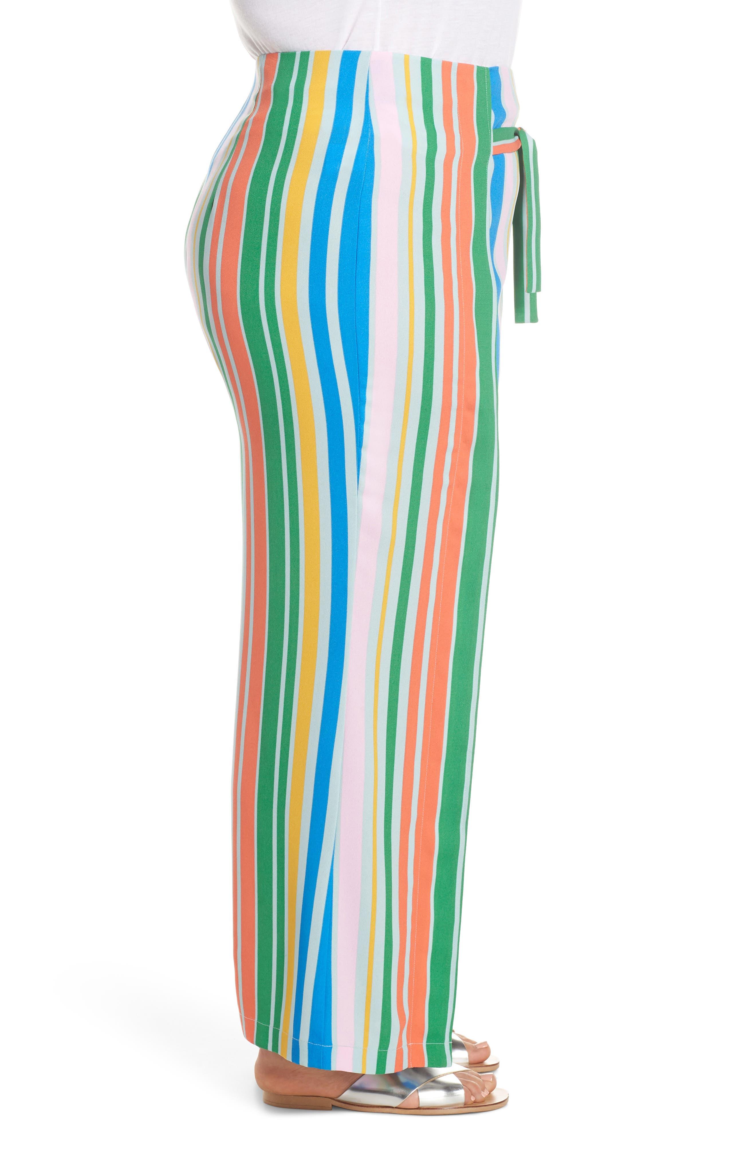 ,                             Tie Front Wide Leg Pants,                             Alternate thumbnail 10, color,                             BLUE FRENCH MULTI STRIPE