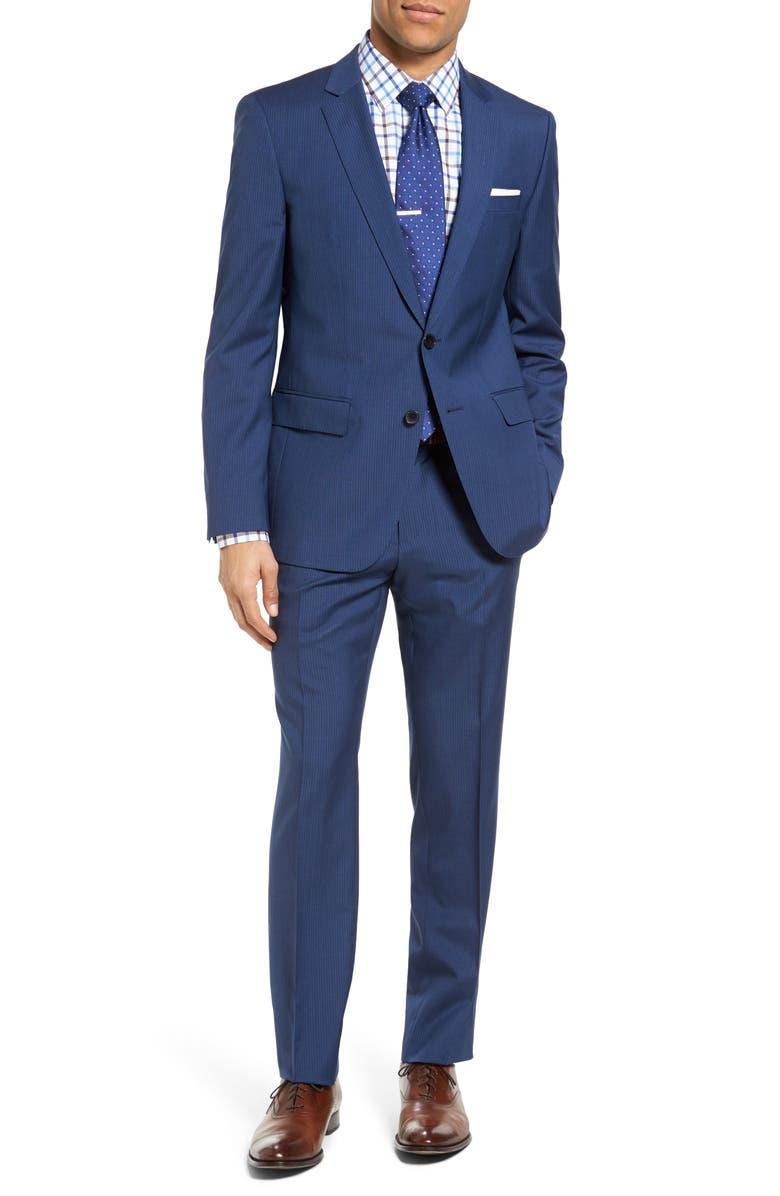 ZZDNUHUGO BOSS BOSS Huge/Genius Trim Fit Stripe Wool Suit, Main, color, 421