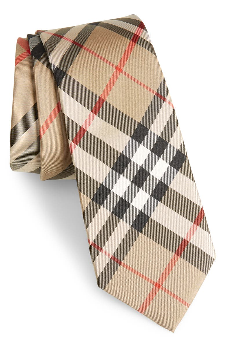 BURBERRY Manston Check Silk Tie, Main, color, ARCHIVE BEIGE