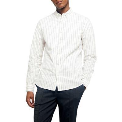 Topman Pinstripe Oversize Button-Down Shirt, Ivory