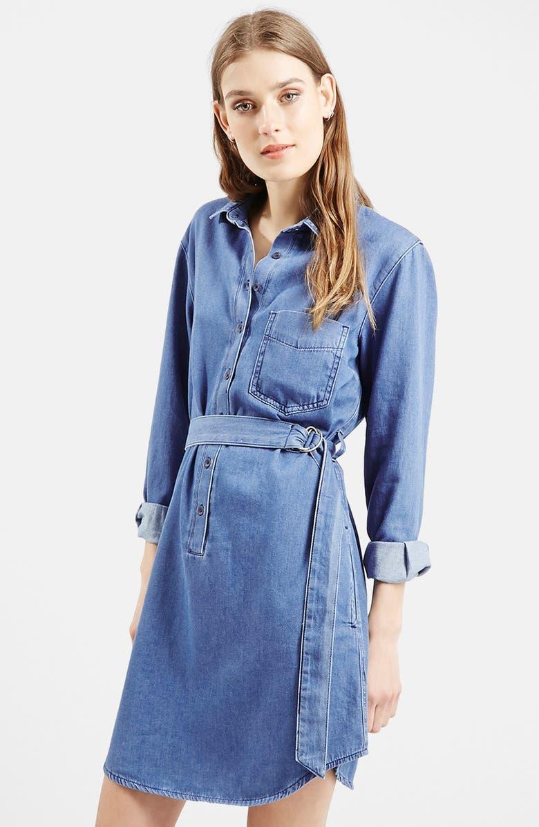 TOPSHOP D-Ring Denim Shirtdress, Main, color, 400