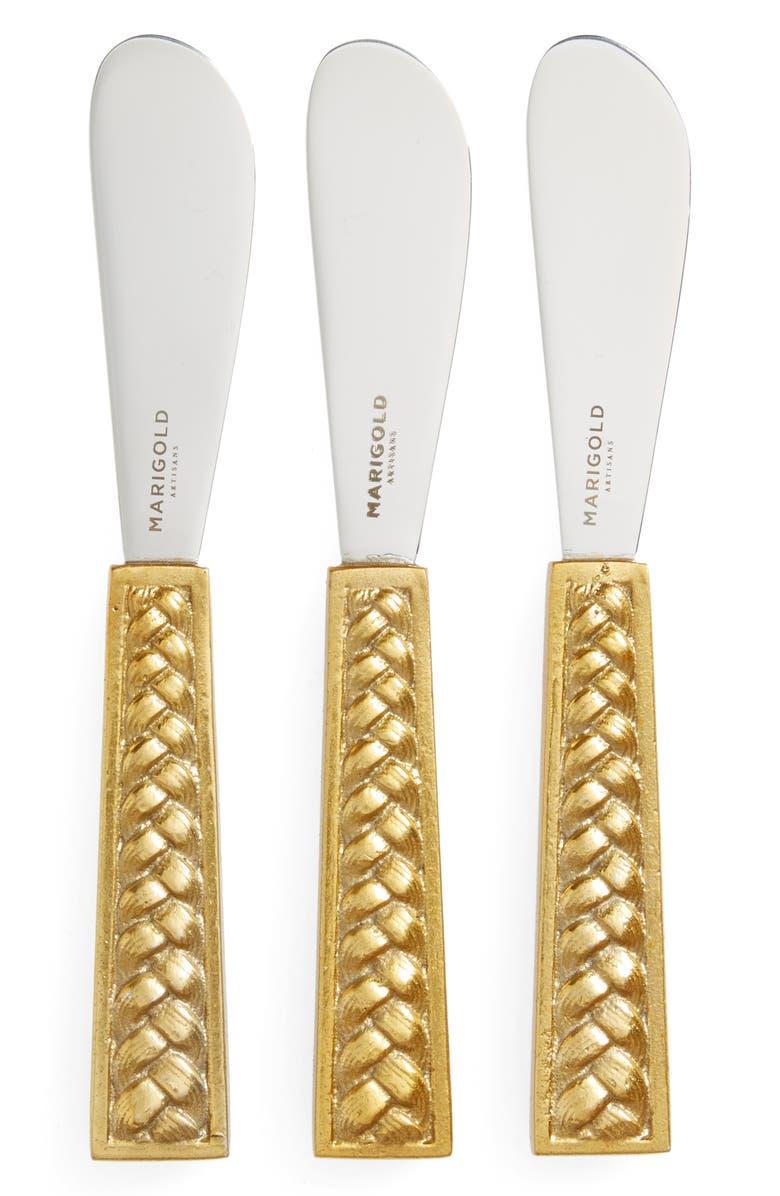 MARIGOLD ARTISANS Set of 3 Braid Cheese Knives, Main, color, NONE