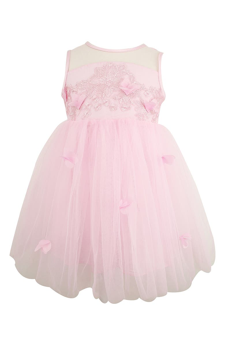 POPATU Embroidered Mesh & Tulle Dress, Main, color, PINK