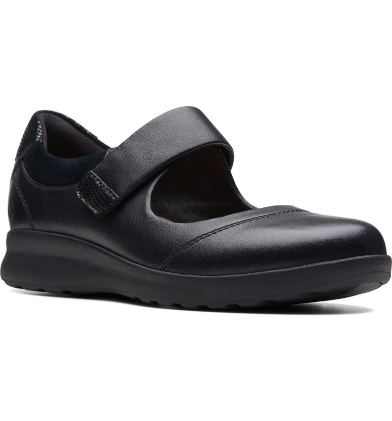 CLARKS<SUP>®</SUP> Un Adorn Mary Jane Flat, Main, color, BLACK LEATHER/ SUEDE COMBI