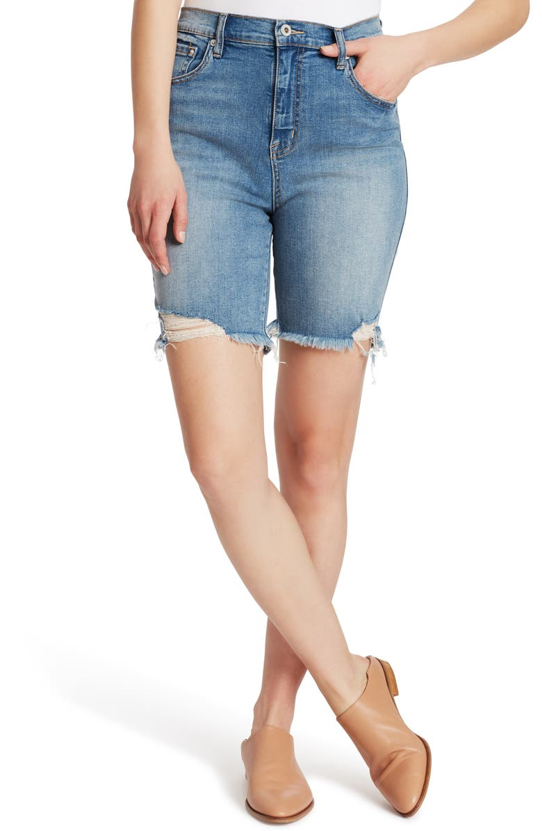 ELLA MOSS High Waist Distressed Denim Bermuda Shorts, Main, color, CORDIA