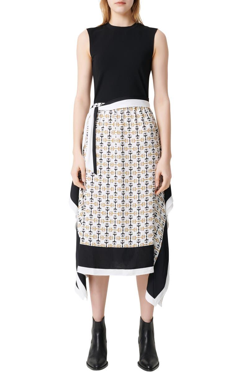 MAJE Rosy Scarf Print Midi Dress, Main, color, WHITE / BLACK