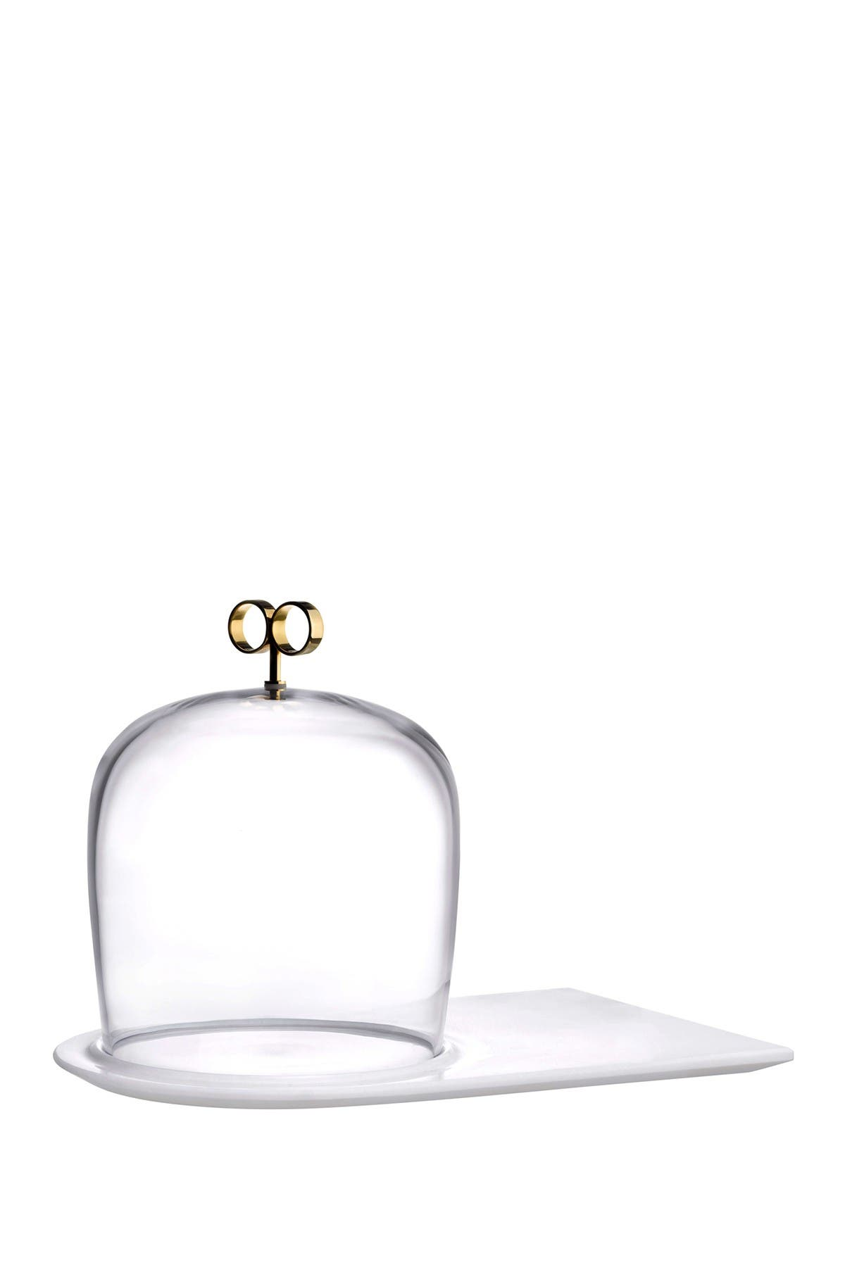 Image of Nude Glass Cupola Cake Dome - High with Brass Handle and Marble Base