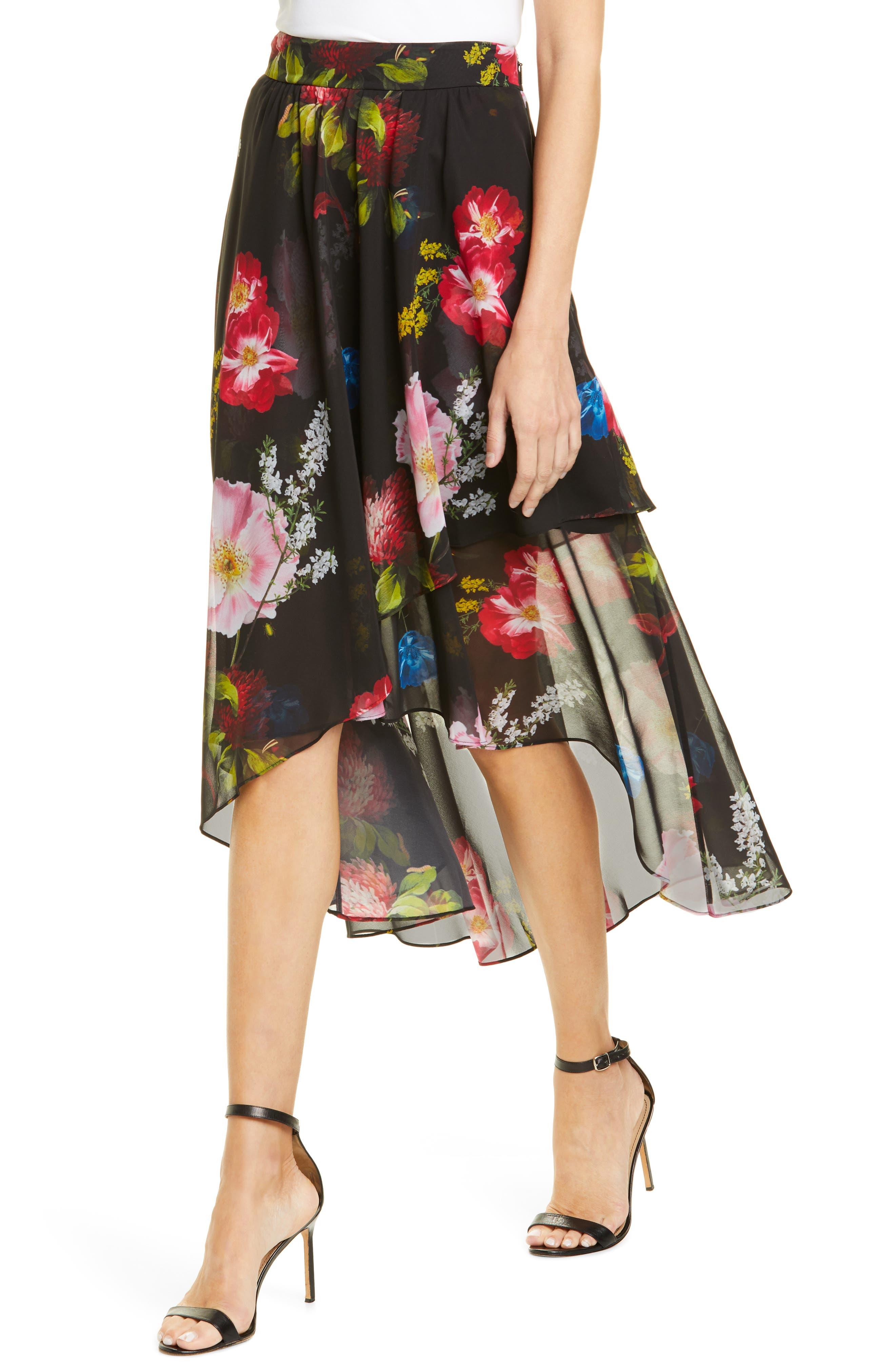 ,                             Ritta Floral Ruffle Midi Skirt,                             Alternate thumbnail 4, color,                             BLACK