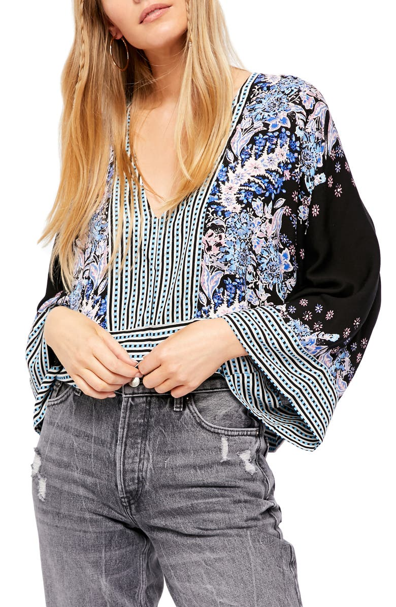 FREE PEOPLE Mix 'n' Match Blouse, Main, color, BLACK COMBO