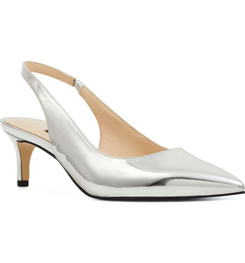 NINE WEST Feliks Sling Back Pump, Main, color, SILVER FAUX LEATHER