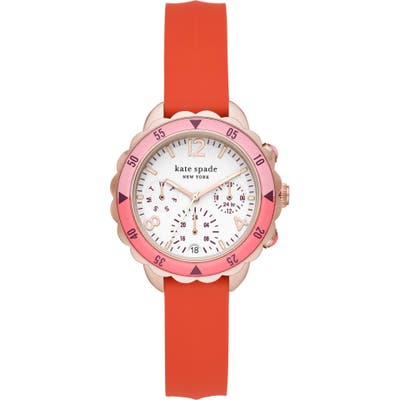 Kate Spade New York Baywater Chronograph Silicone Strap Watch,