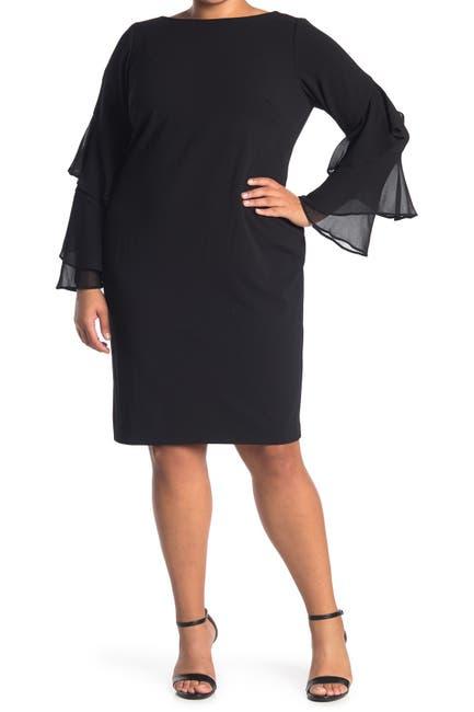 Image of Calvin Klein Double Ruffle Chiffon Sheath Dress