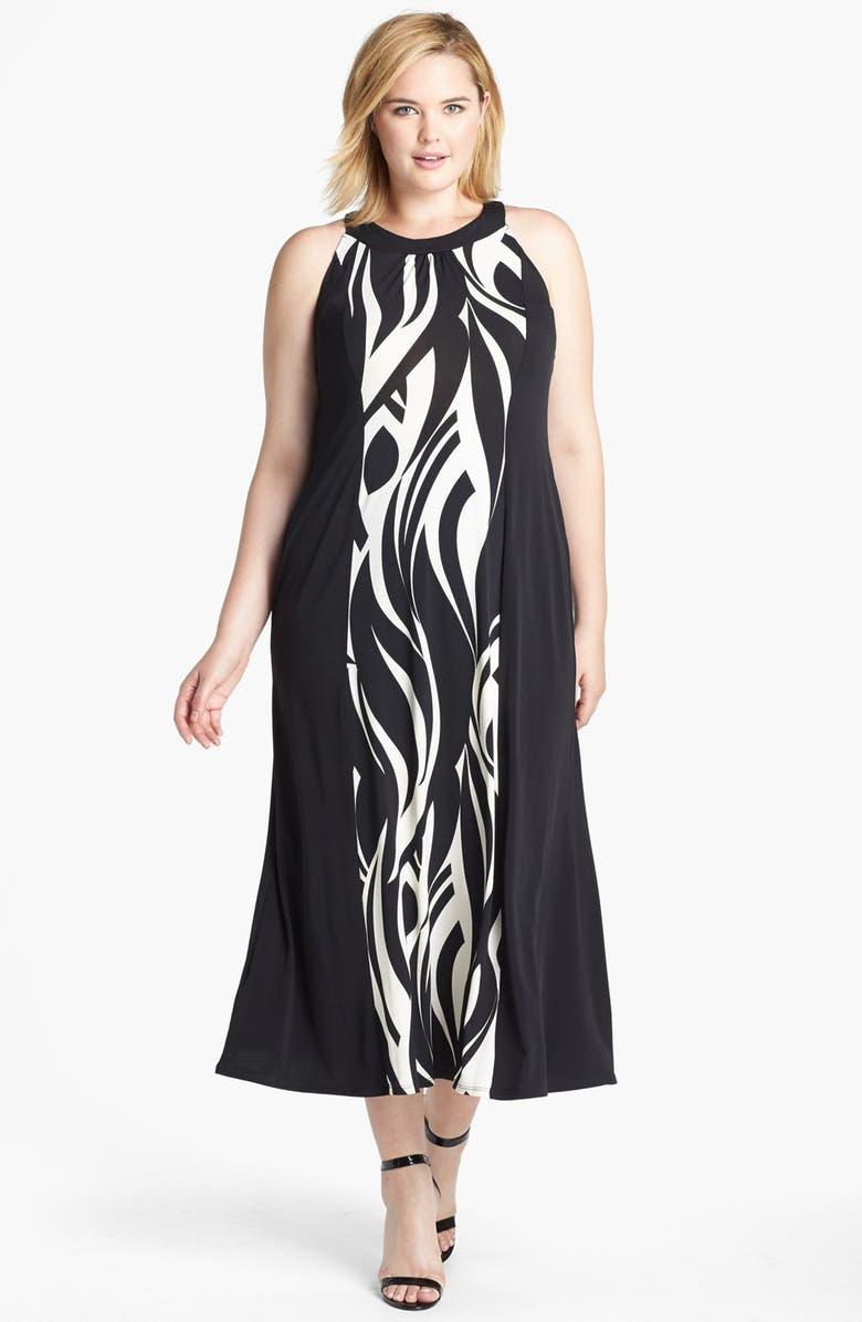 EVANS Swirl Print Jersey Dress, Main, color, 001