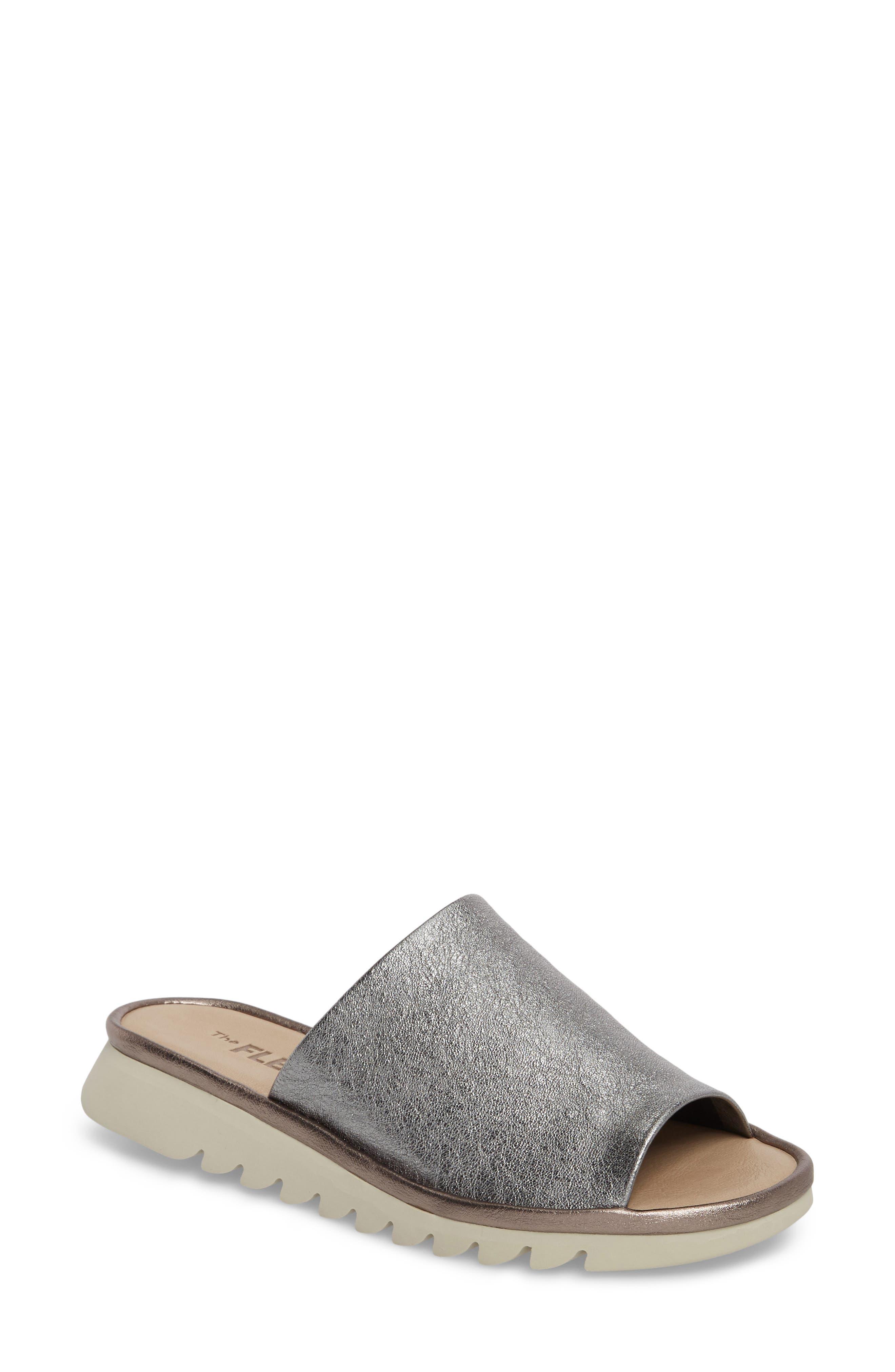 Shore Thing Slide Sandal, Main, color, CANNA DI FUCILE LEATHER