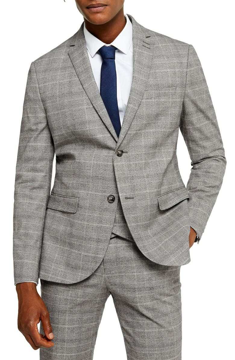 TOPMAN Hopper Check Slim Fit Blazer, Main, color, GREY
