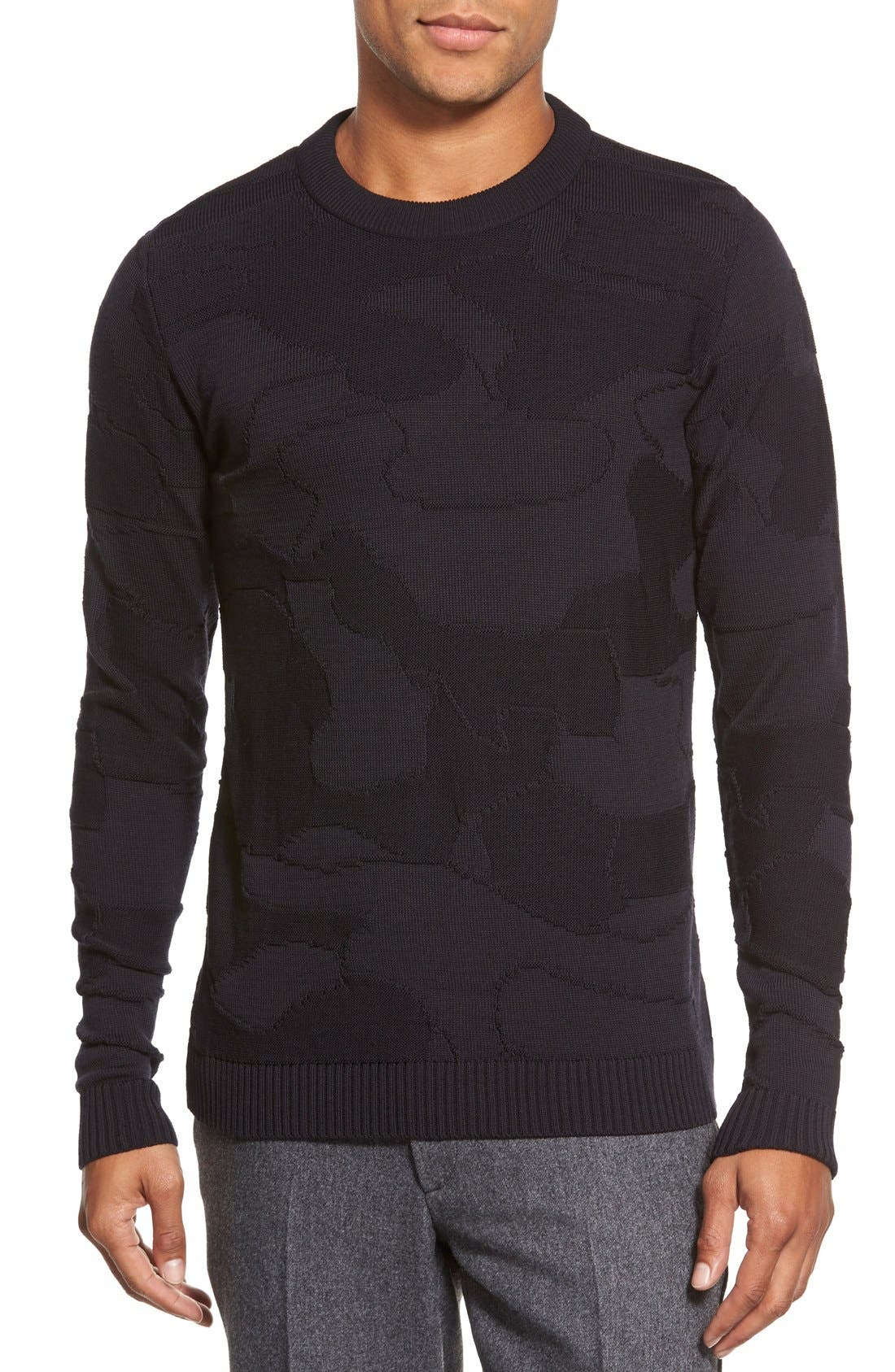 'Codon' Slim Fit Wool Knit Crewneck Sweater, Main, color, 002