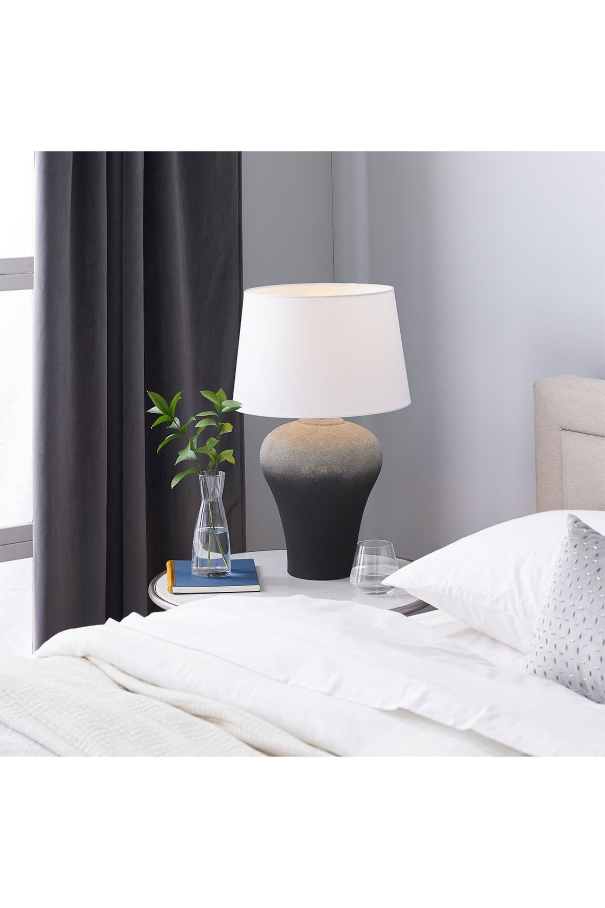 Willow Row Black Ombre Textured Ceramic Table Lamp With White Shade - 15\\\