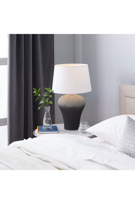 """Image of Willow Row Black Ombre Textured Ceramic Table Lamp With White Shade - 15"""" X 23.75"""""""