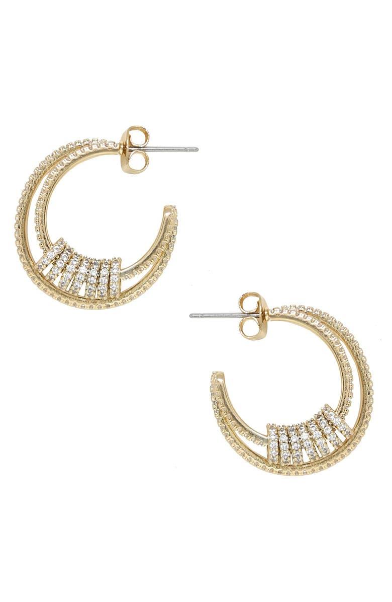 ETTIKA Small Sparkle Hoop Earrings, Main, color, 710