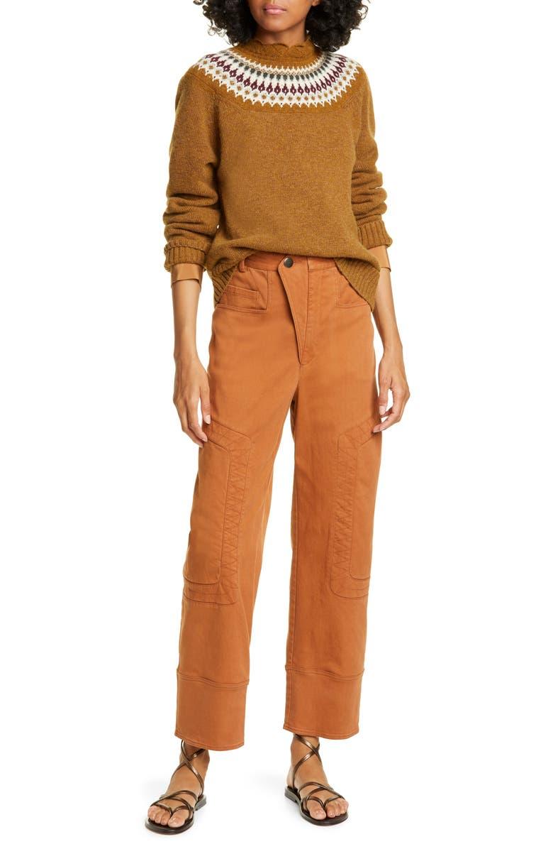 SEA Kali Zigzag Stitch Crop Denim Pants, Main, color, COGNAC