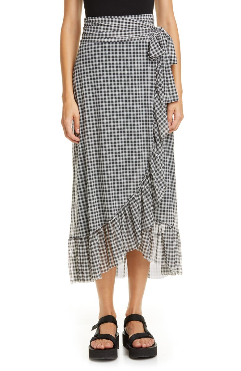 GANNI Gingham Print Mesh Midi Wrap Skirt, Main, color, BLACK 099