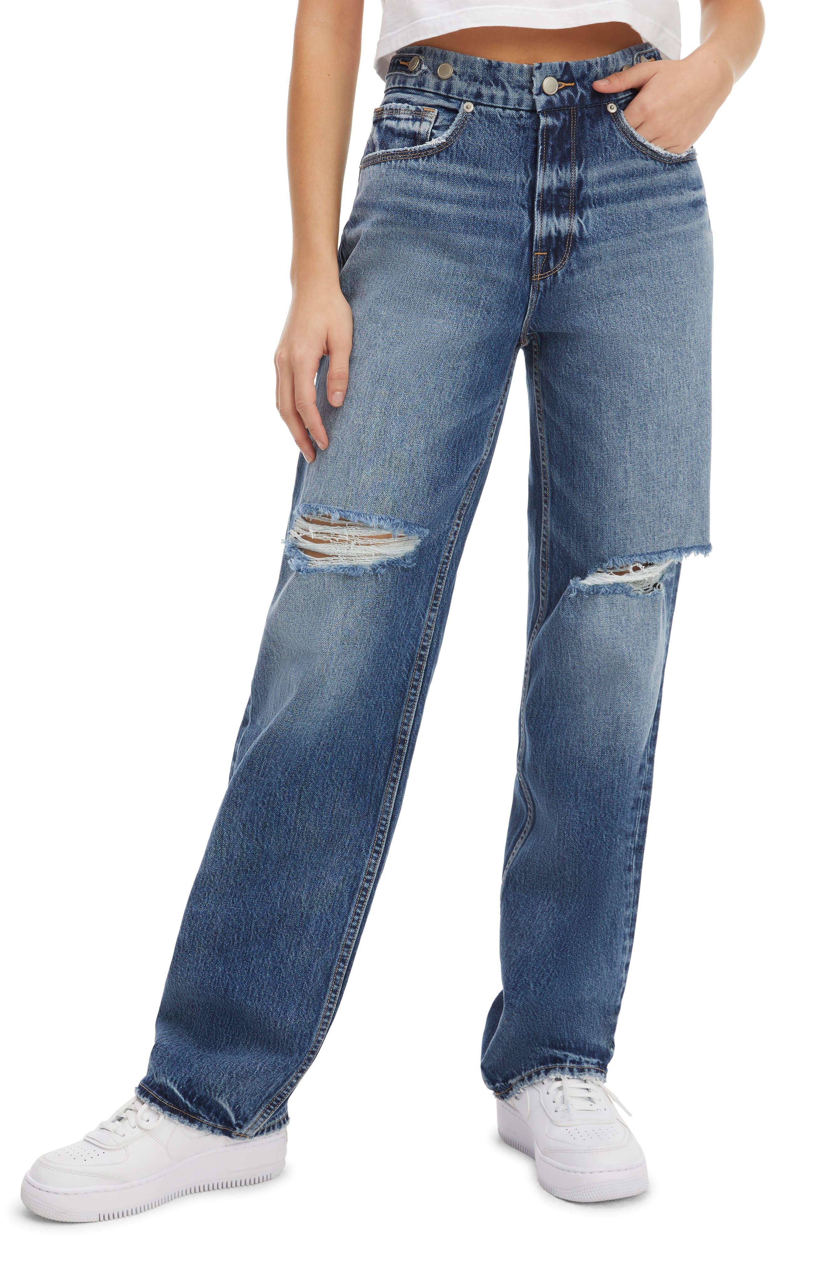 Women's Good American Good '90S Ripped Straight Leg Jeans