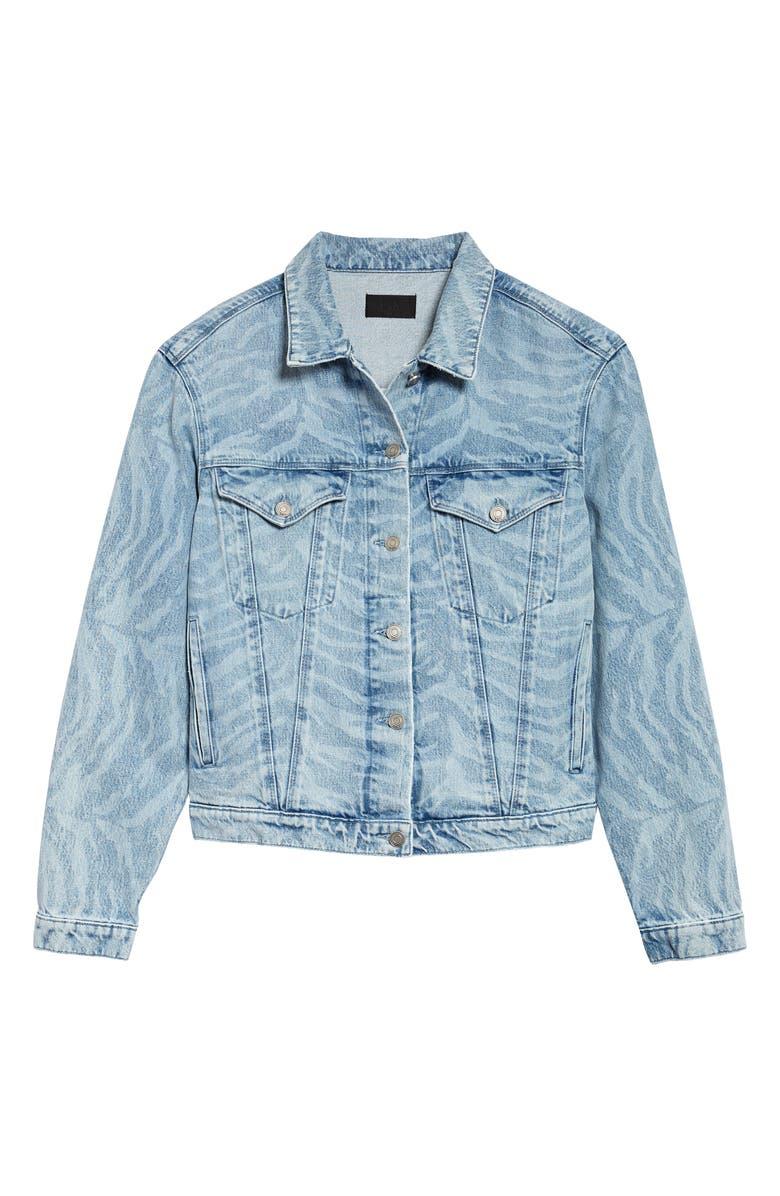 RTA Erika Oversize Zebra Print Denim Boyfriend Jacket, Main, color, BLUE ZEBRA