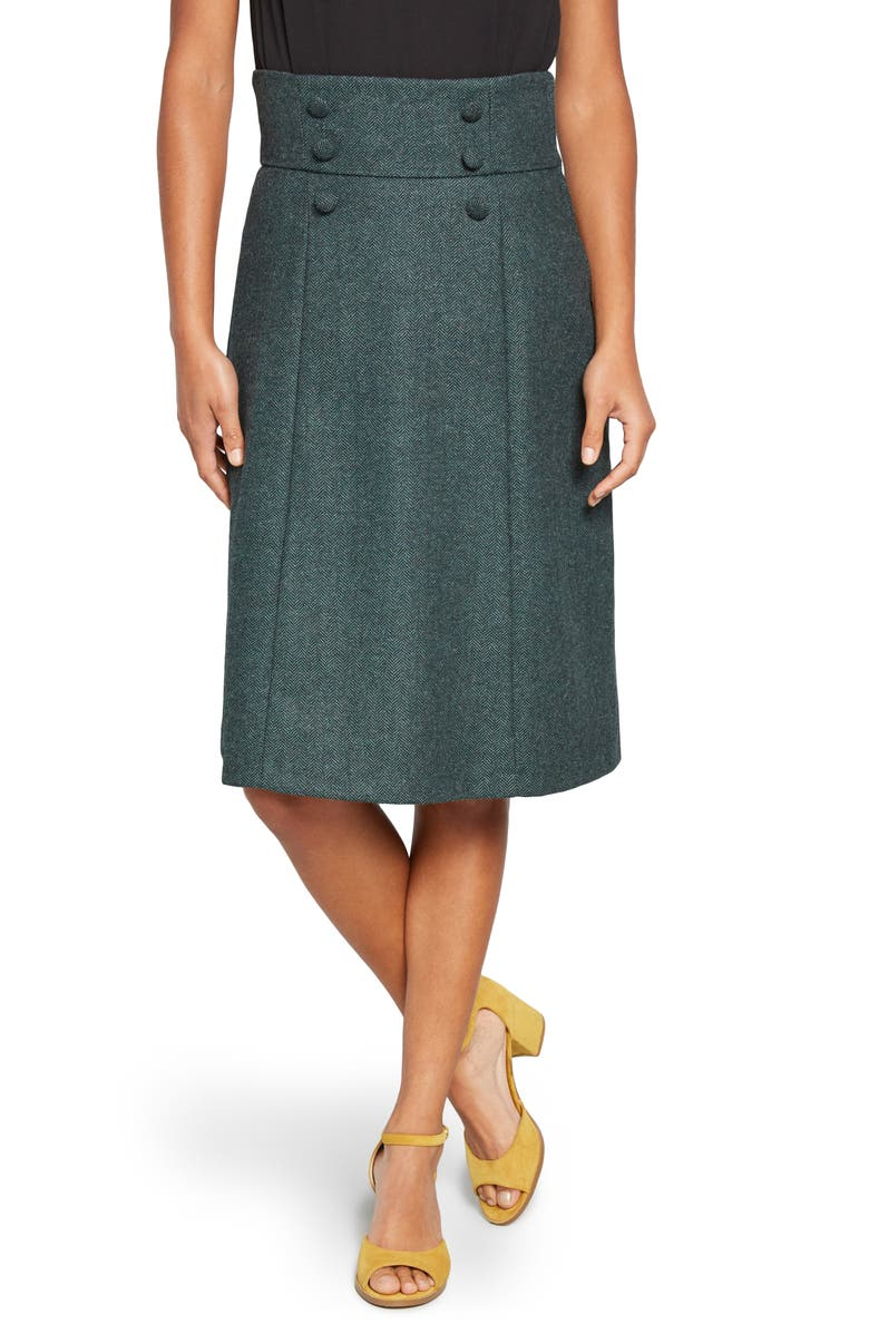 MODCLOTH Timeless Elements Wool Blend A-Line Skirt, Main, color, GREEN