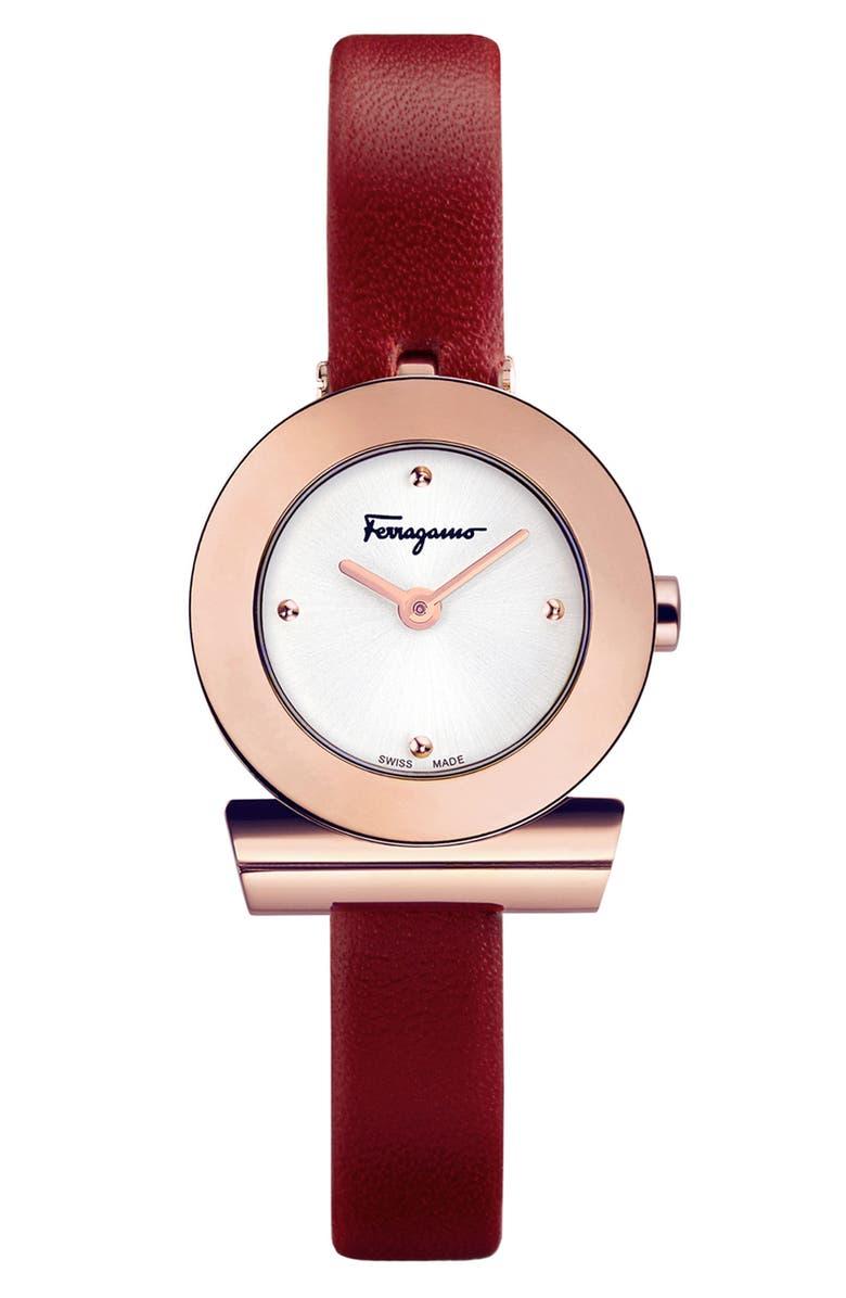 SALVATORE FERRAGAMO Gancino Leather Bracelet Watch, 22mm, Main, color, BURGUNDY/ SILVER/ ROSE GOLD