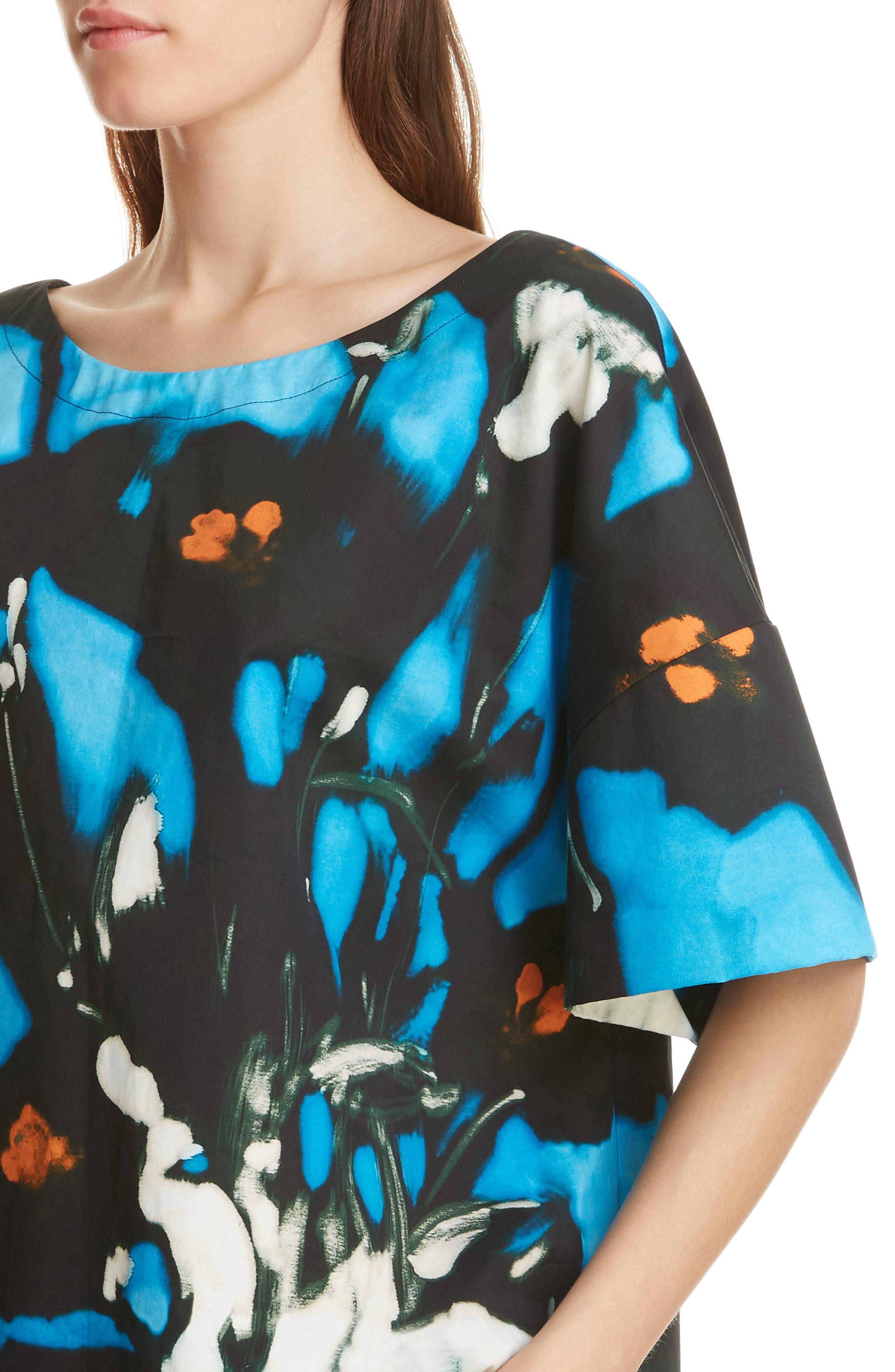 ,                             Cobala Floral Print Cotton Top,                             Alternate thumbnail 4, color,                             BLUE