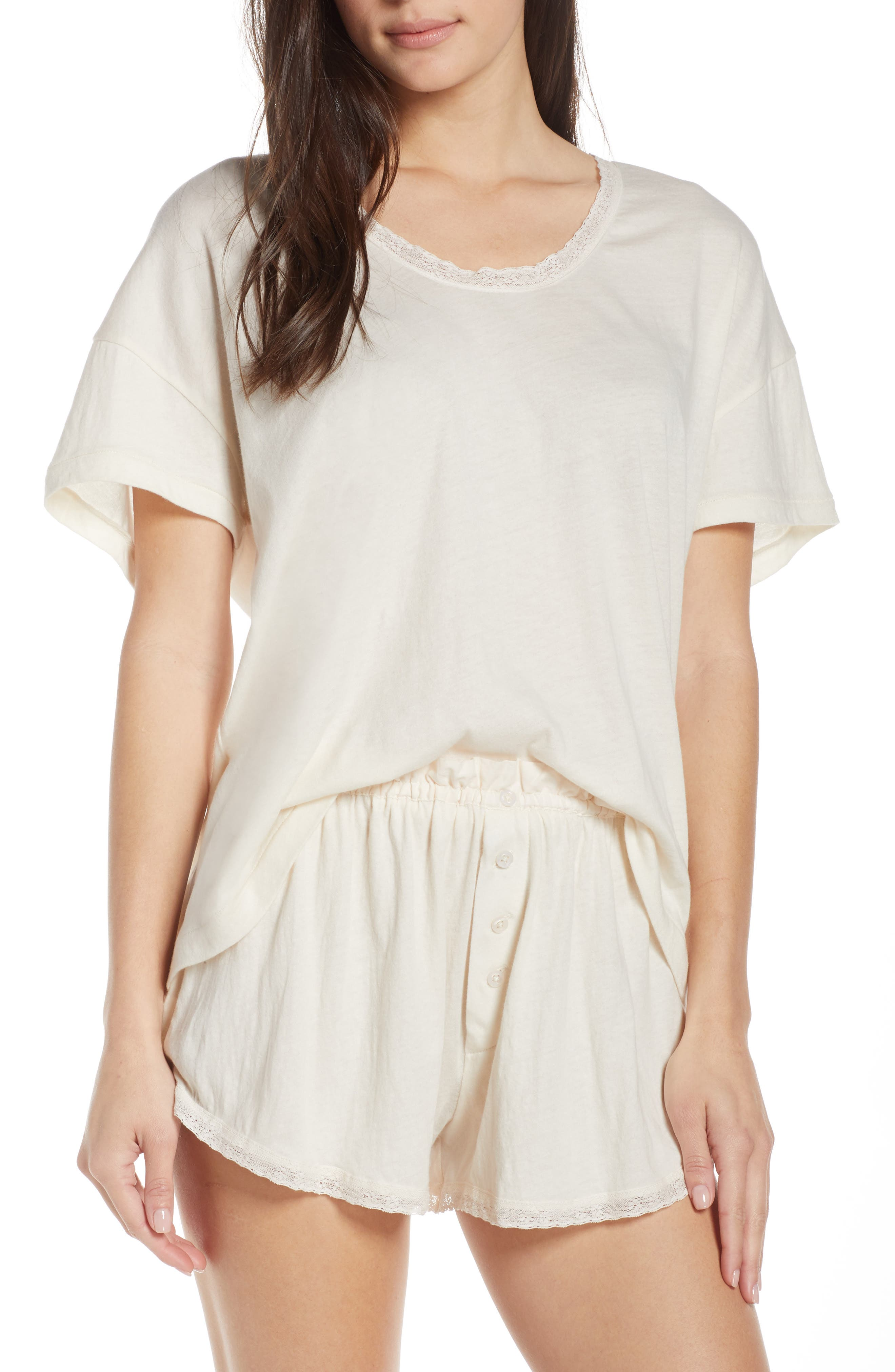 The Great. The Lace Pajama Tee, White