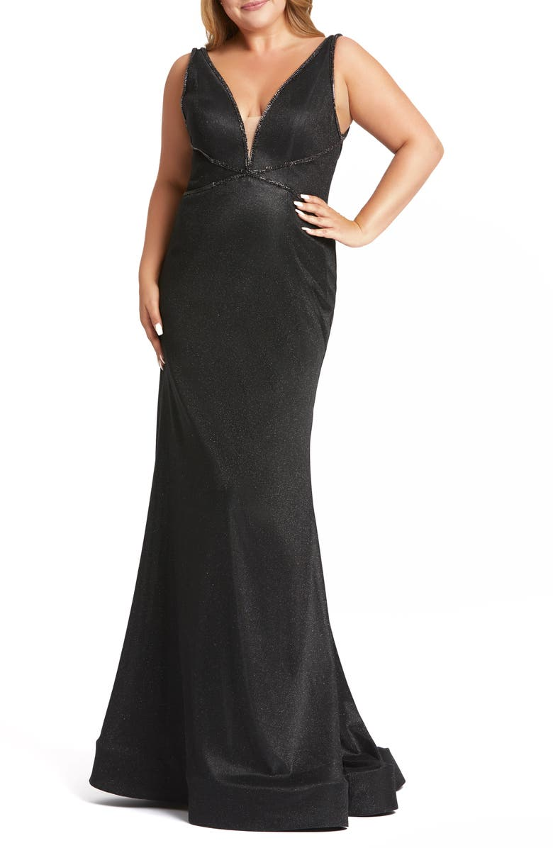 MAC DUGGAL Metallic Trumpet Prom Dress with Train, Main, color, BLACK