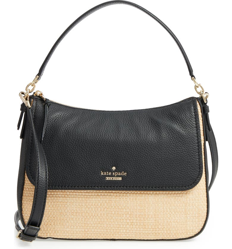 KATE SPADE NEW YORK jackson street - colette straw & leather satchel, Main, color, 257