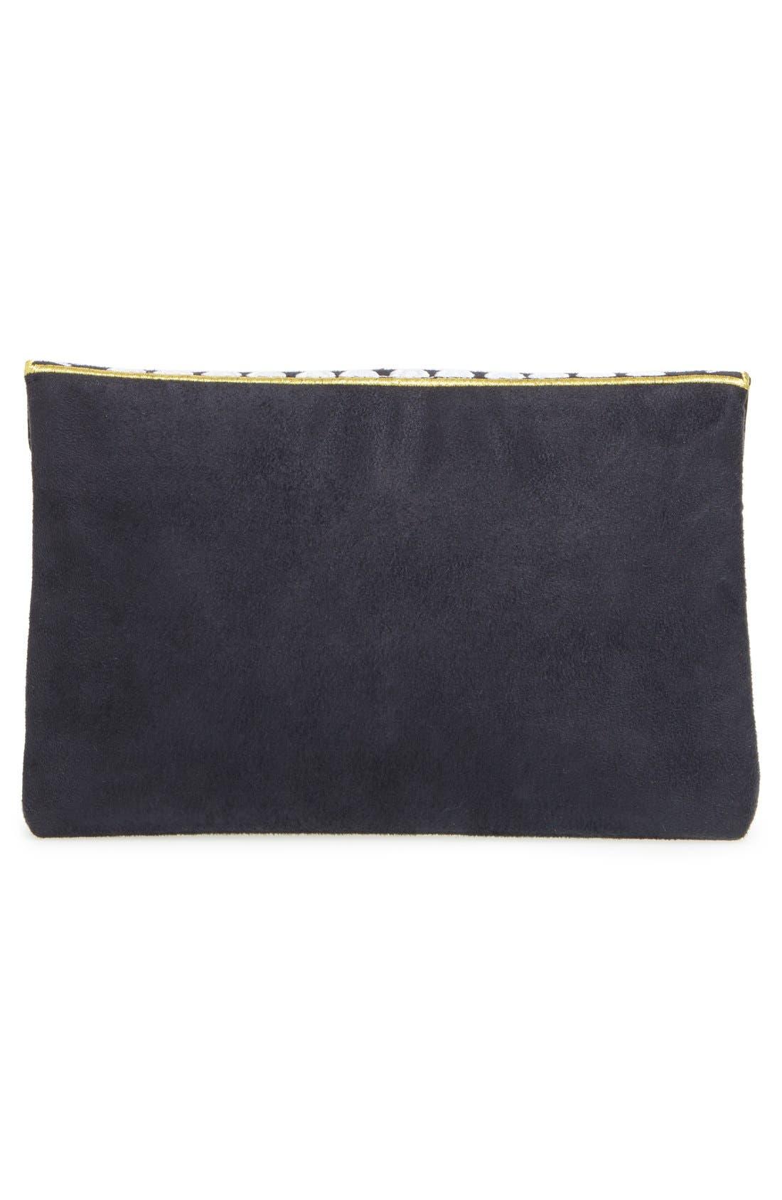 ,                             'Micha' Embellished Velvet Envelope Clutch,                             Alternate thumbnail 6, color,                             001