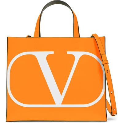 Valentino Garavani Small Vlogo Leather Tote - Orange