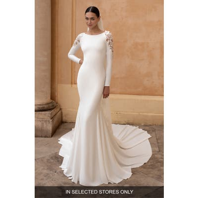Pronovias Frostia Lace Shoulder Long Sleeve Crepe Trumpet Wedding Dress, Size IN STORE ONLY - Ivory