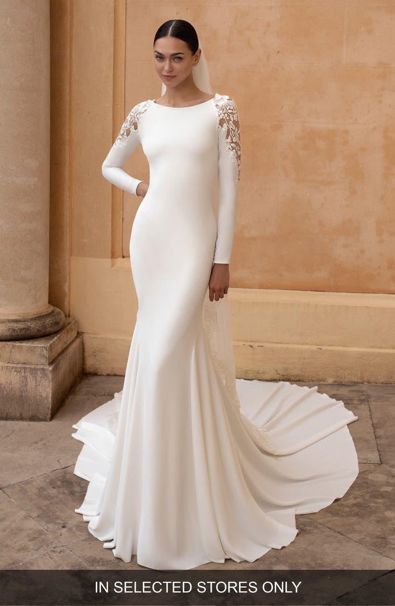 PRONOVIAS Frostia Lace Shoulder Long Sleeve Crepe Trumpet Wedding Dress, Main, color, OFF WHITE
