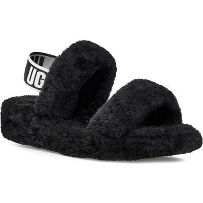 UGG Oh Yeah Genuine Shearling Slingback Slipper, Black