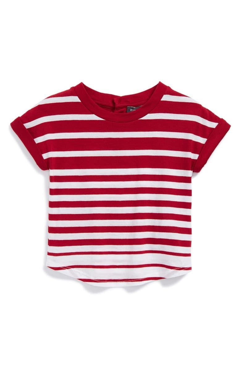 VINCE Stripe Roll Sleeve Tee, Main, color, 107