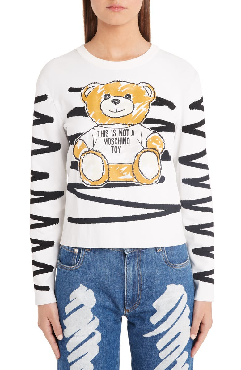 MOSCHINO Scribble Teddy Sweater, Main, color, 122
