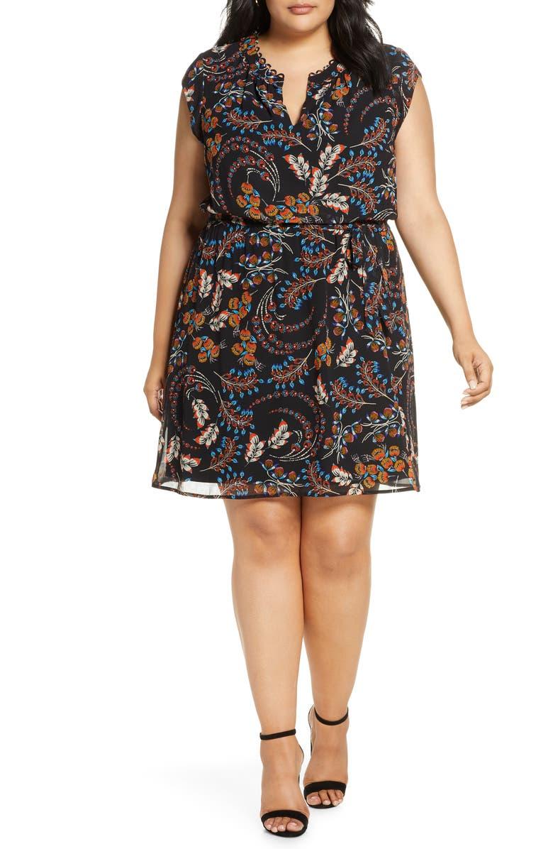 DANIEL RAINN Printed Tie Waist Dress, Main, color, BLACK
