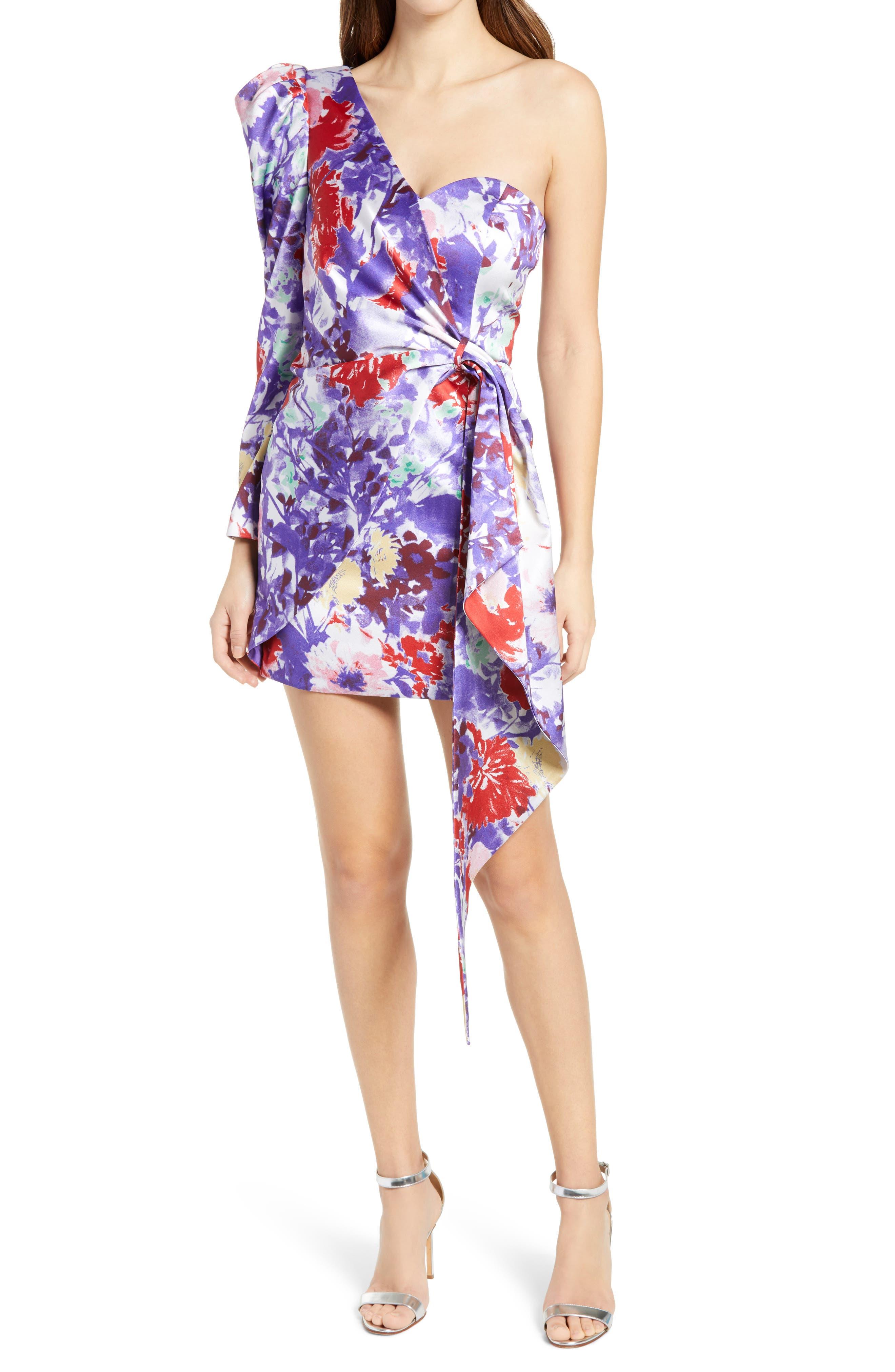Floral One-Shoulder Minidress