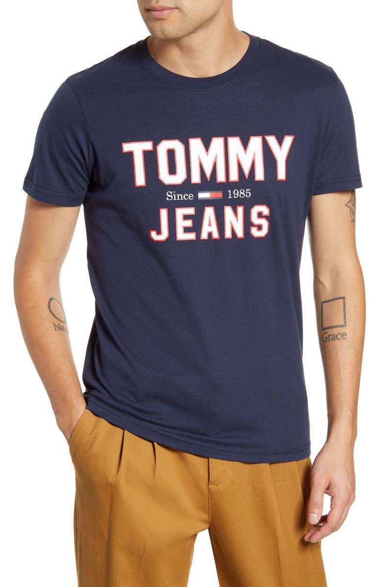 TOMMY JEANS TJM Essential 1985 Logo T-Shirt, Main, color, BLACK IRIS