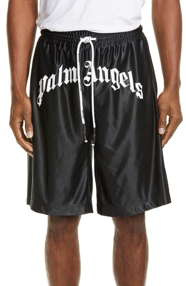 PALM ANGELS Logo Mesh Shorts, Main, color, BLACK WHITE