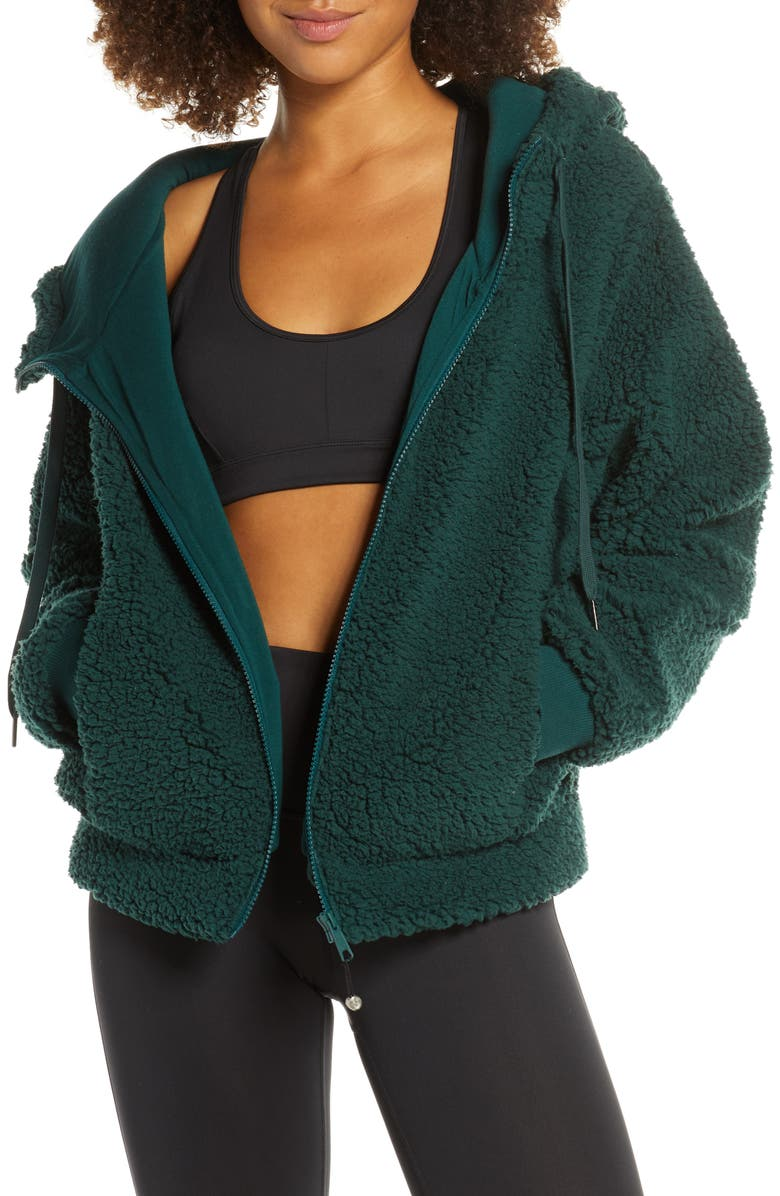 ZELLA Farrah Hooded Fleece Jacket, Main, color, GREEN PONDEROSA