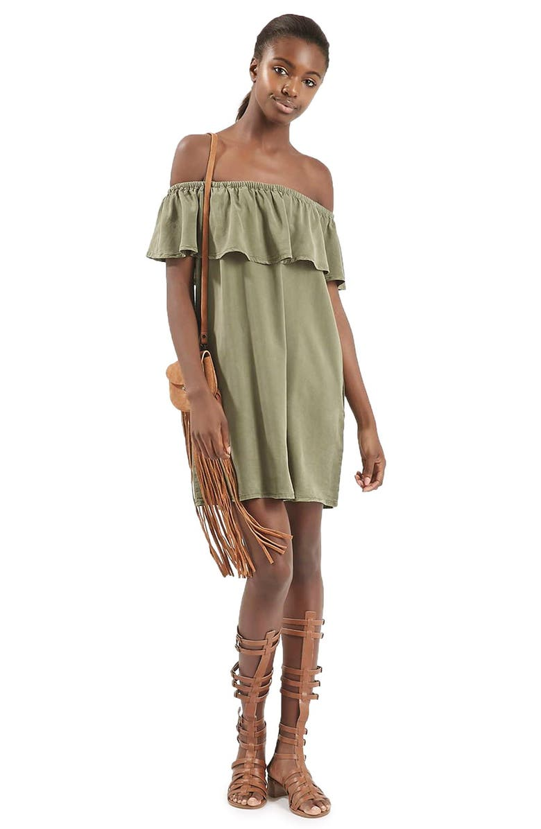 TOPSHOP Ruffled Off the Shoulder Dress, Main, color, 300